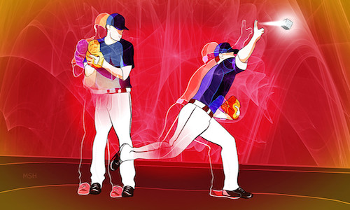 An illustration of a baseball player pitching and catching